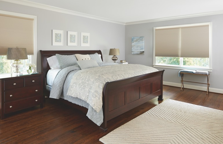 Beige shades in a San Antonio bedroom.