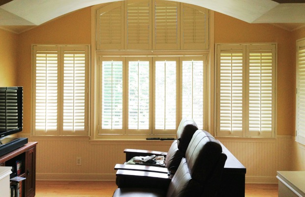 San Antonio plantation shutters in tv room