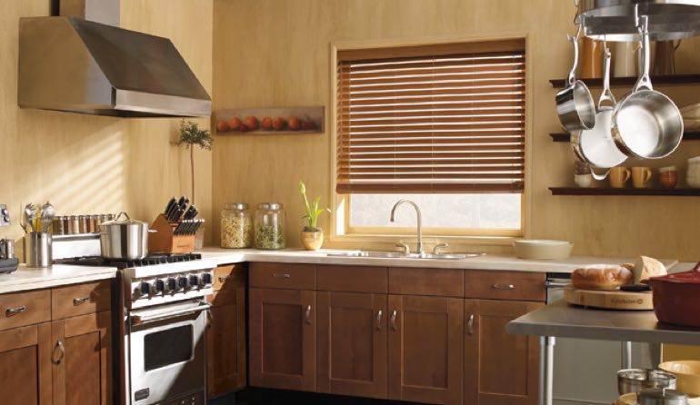 San Antonio kitchen faux wood blinds.