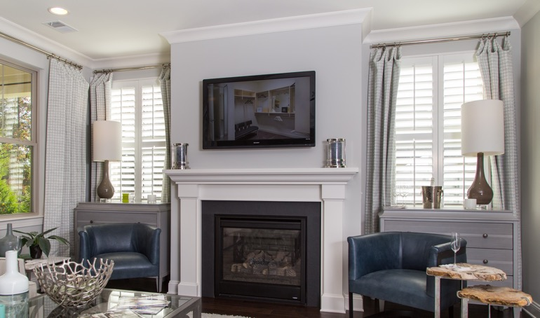 San Antonio mantle with plantation shutters.