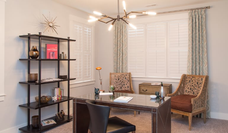 San Antonio home office with plantation shutters.