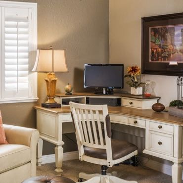 San Antonio home office window shutters.