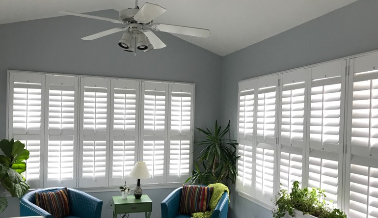 San Antonio sunroom with fan and shutters