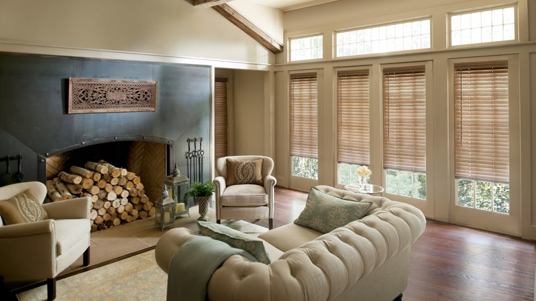 San Antonio fireplace with blinds