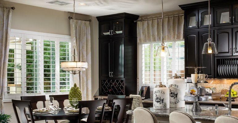 San Antonio kitchen dining room with plantation shutters.