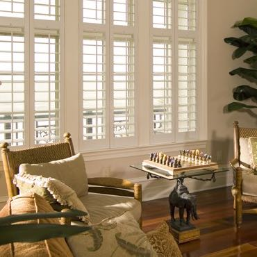 San Antonio living room interior shutters.
