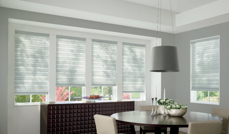 Cellular shades in a San Antonio dining room.