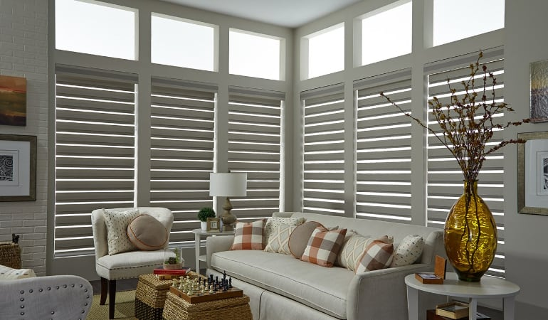 Motorized shades in a San Antonio living room.