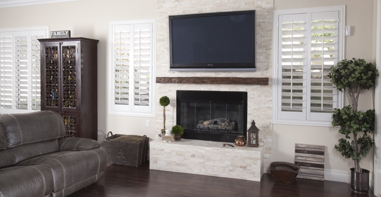 white shutters in San Antonio family room