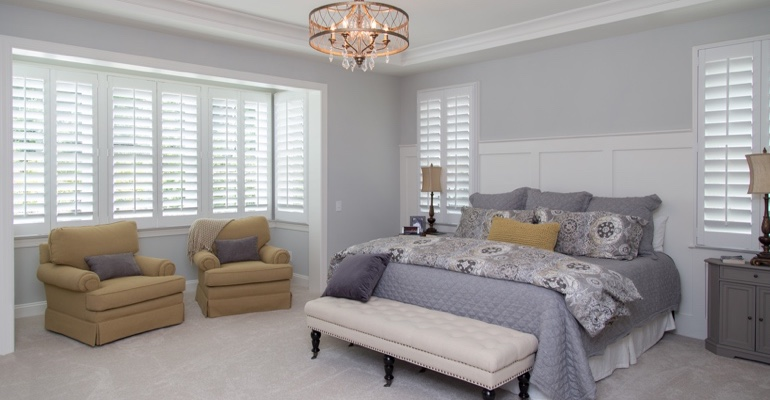 San Antonio bedroom faux wood shutters