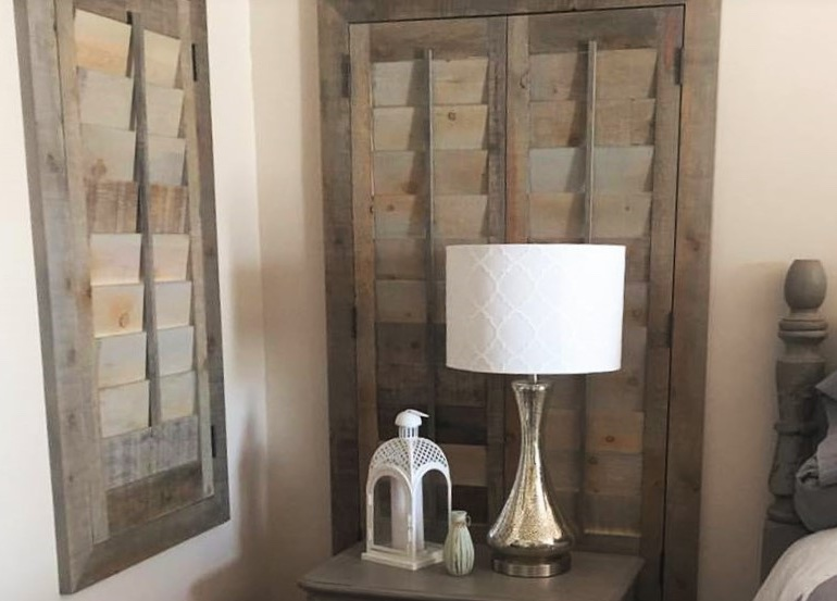 San Antonio bedroom with reclaimed wood shutters. - New Window Styles & San Antonio Design Trends Sunburst Shutters