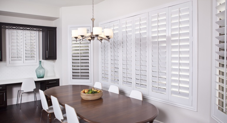plantation shutters in San Antonio kitchen