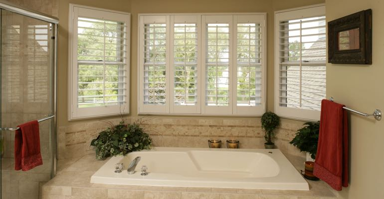 Plantation shutters in San Antonio bathroom.