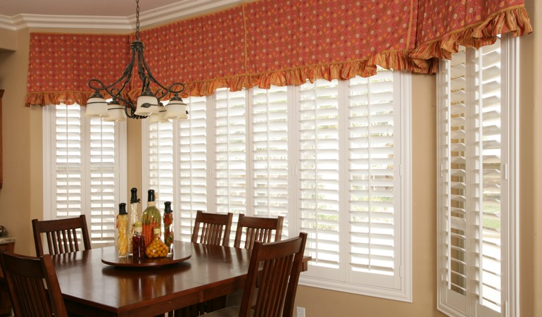 White shutters in San Antonio dining room.