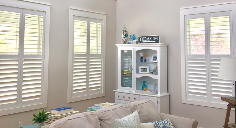 Polywood shutters in San Antonio sunroom