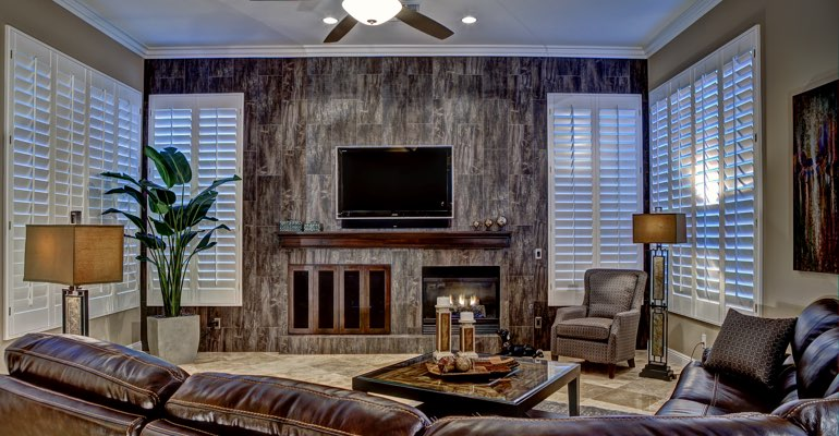 San Antonio living room with shutters