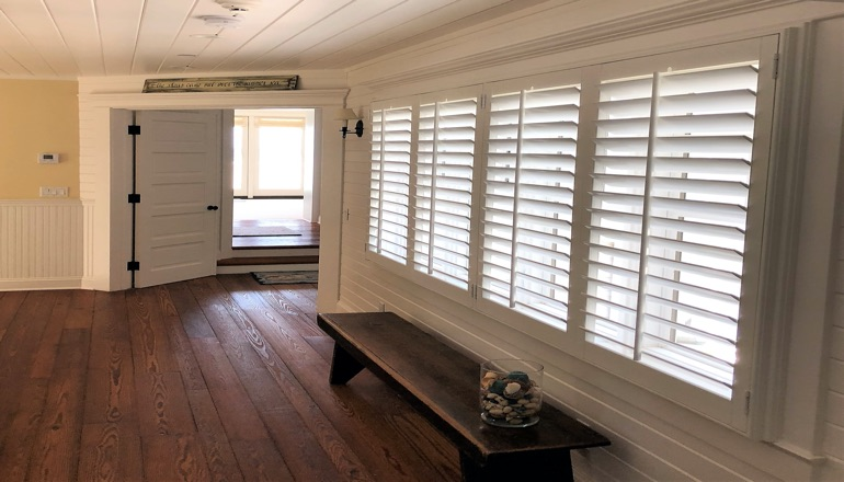 Faux wood plantation shutters in San Antonio