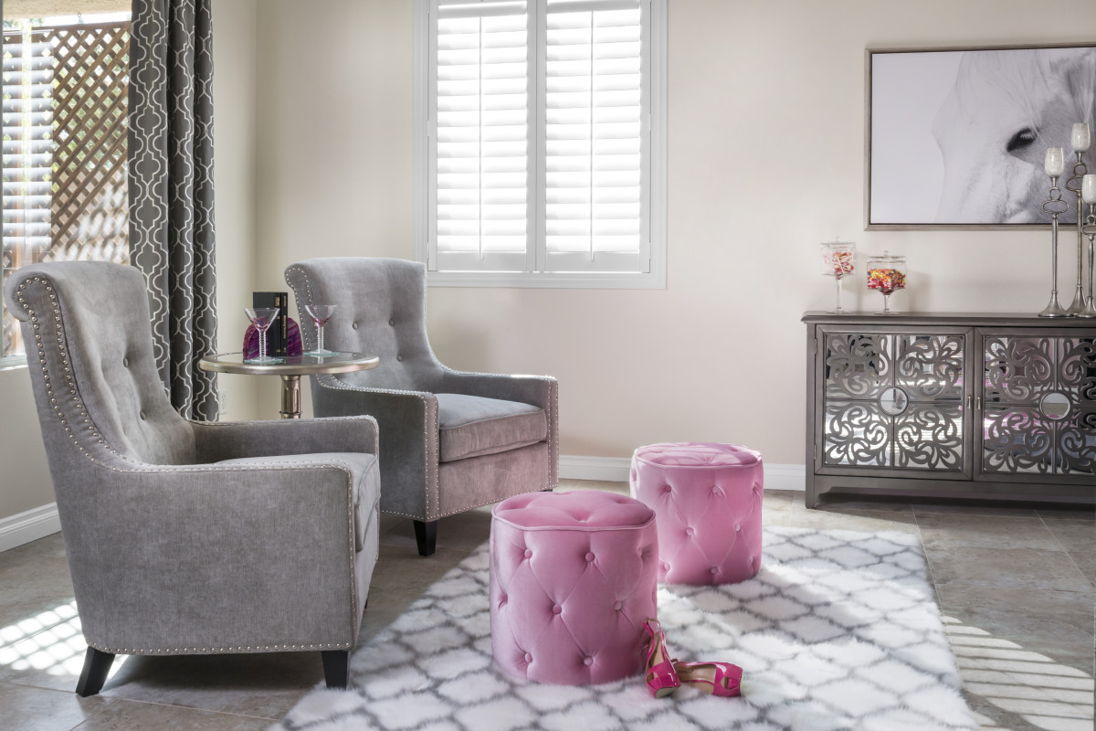 San Antonio pink living room with shutters