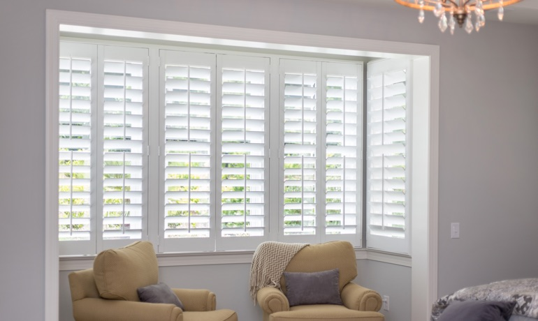 Plantation shutters in San Antonio corner