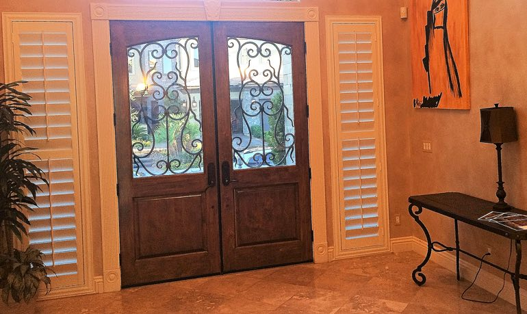 San Antonio foyer door with shutters