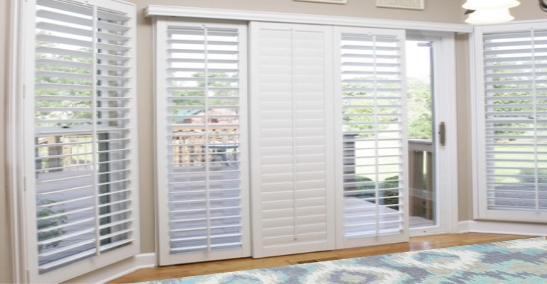 [Polywood|Plantation|Interior ]211] shutters on a sliding glass door in San Antonio