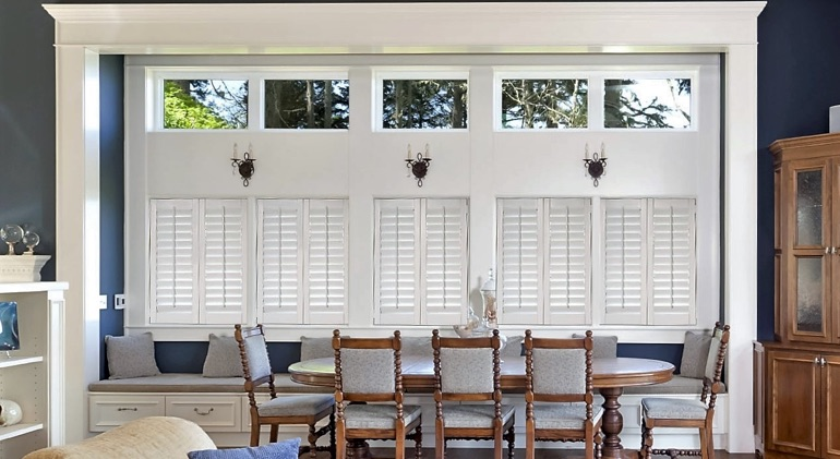 San Antonio great room with Studio plantation shutters.
