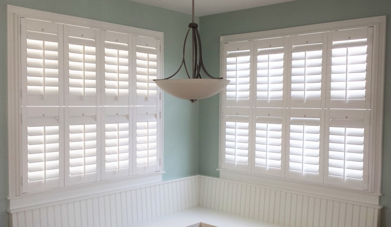 San Antonio white shutters in dining room