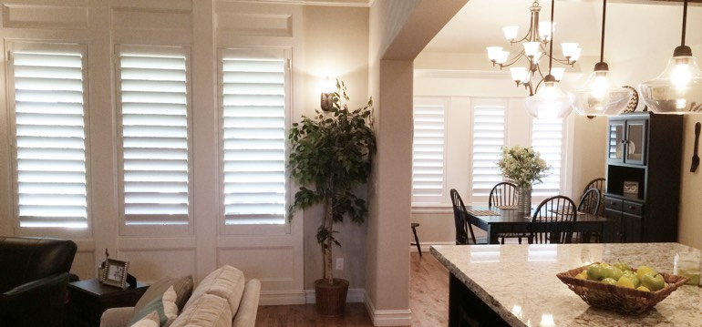 San Antonio shutters in dining room and great room