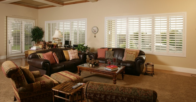 San Antonio family room with custom shutters.