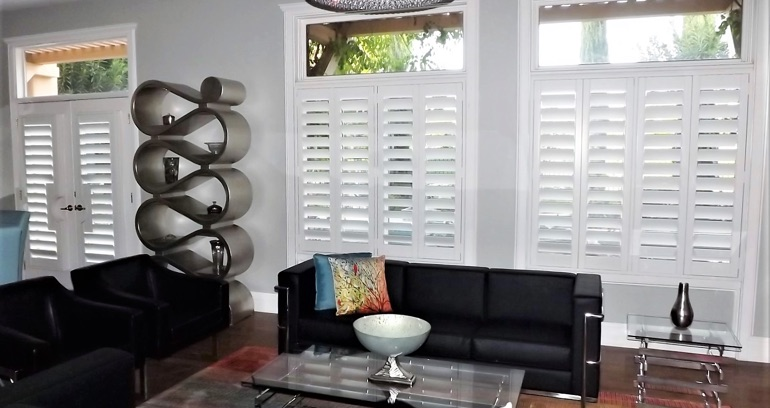 San Antonio DIY shutters in living room.