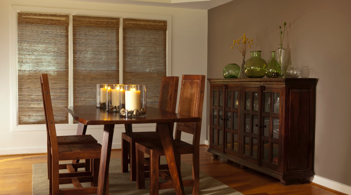 Woven shutters in a San Antonio dining room.