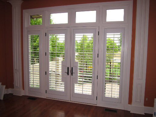 San Antonio patio door with sidelight shutters