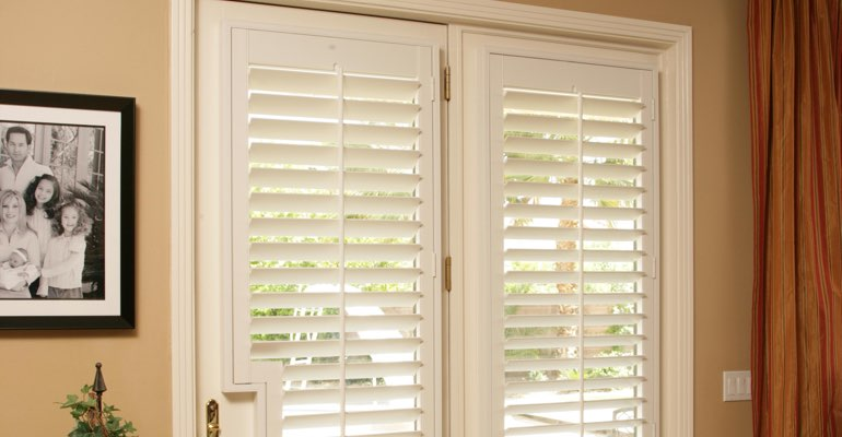 San Antonio french door white shutters
