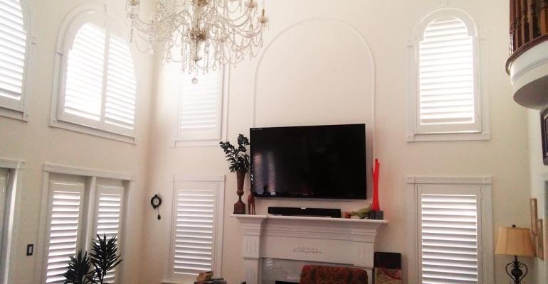 High Ceiling Windows With Shutters San Antonio Living Room