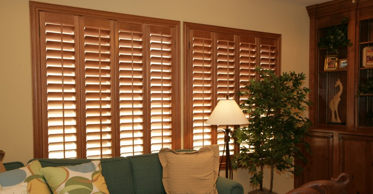 Wood shutters in San Antonio living room.