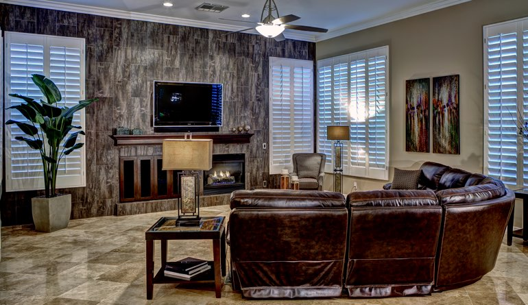 Plantation Shutters In A San Antonio Living Room.