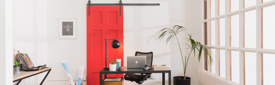 Home Office with Barn Door